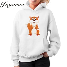 Babaseal Cute Fox Cartoon Oversized Tumblr Sweatshirt Kawaii Fashion Plain Hoodies Vintage Kawaii Hoodie Red Velvet Hoodie(China)