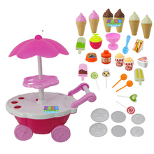 Hot OCDAY Simulation Small Carts Girl Candy Cart Ice Cream Shop Supermarket Trolley Car Toys With Light Music Home Playing Toys