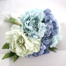 Beautiful Artificial Flowers Fake Peony Bridal Bouquet for Wedding Decoration Romantic Home Decorative Blue Pink Color Hot Sale