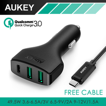 AUKEY Quick Charge 3.0 3 Port USB / Type C Car Charger For Nexus5X 6P Nokia N1 OnePlus2 Lumia 950 950XL Xiaomi with Type-C cable(China)