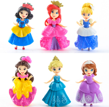 6Pcs/Lot 8-9CM Catoon anime princess Anna Elsa Cinderella Mermaid Snow white action figure kid toy for girl Dolls