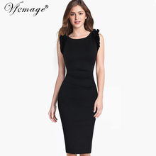 Vfemage Womens Elegant Ruffles Frill Ruched Draped Vintage Tunic Slim Casual Work Office Party Evening Bodycon Pencil Dress 6667