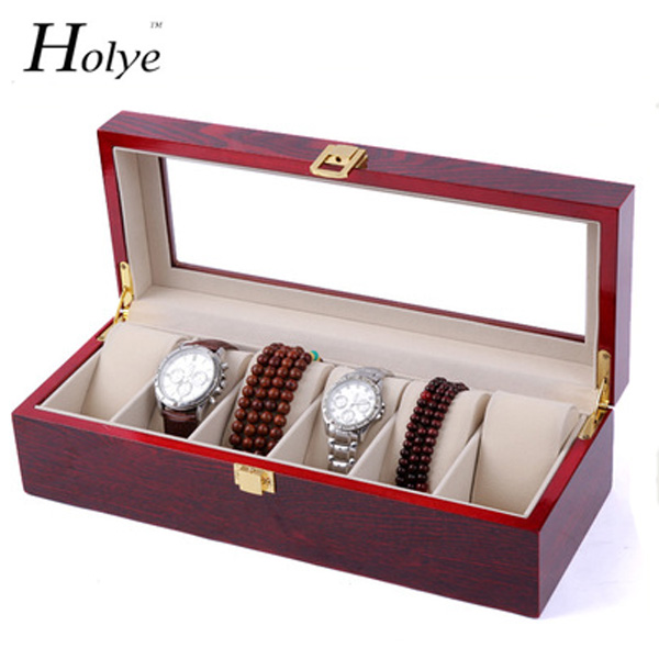 Red Wooden Watch Storage Case 6 Grids Watches Display Box Red Lacquer Jewelry Watch Boxes Fashion Watch Storage Gift Boxes<br>