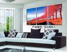 From artist abstract red tree dafen oil painting village on canvas modern original directly unframed art home decor wholesale(China)