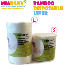 Miababy Disposable Diapers Biodegradable & Flushable nappy liners cloth diaper liners 100% Bamboo rayon,100 Sheets per Roll(China)