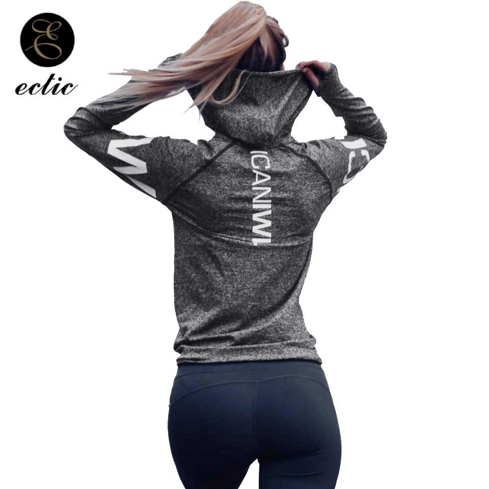 Gym Sport Outfit Women Fitness Hoodies Poleron Mujer 2018 Sweat Femme Hoodie  Grey Letter Printed Punk f9570bae67b5