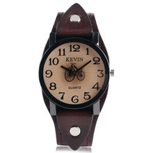 Buy KEVIN Round Dial Punk Bicycle Wrist Watch Dark Brown Leather Band Simple Strap Men Women Special Design Quartz Casual Trendy for $7.42 in AliExpress store