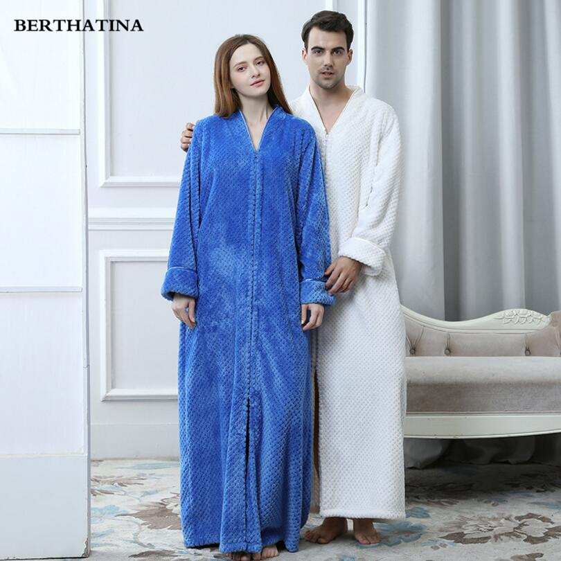 BERTHATINA 2018 New Fashion Lovers Soft Winter Warm Long Bathrobe Men Women Flannel  loose Bathrobe Robe Lounge Siamese Robes