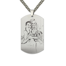Dog Tag Photo Necklace Titanium Steel Picture Necklace Engrave Dog Tag Necklace Photo Gifts for Dad