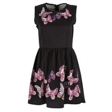 Women Casual Sexy Sleeveless Dress Butterfly Print Evening Party Dress Clubwear