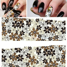 2016 Vintage Full Cover Water Transfer Nail Stickers With Flowers Pattern Hot Sale Women Girl Elegant Nail Decal Beauty Gift