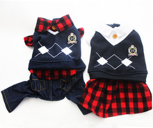 Boy/Girl Dog Jumpsuit Pet Dress Hoody Cat Puppy Plaid POLO Shirt Coat Jacket Spring Clothes Apperal 5 Sizes