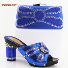 Royal Blue PU leather Nigeria in high quality Italian shoes and bag to match Italian shoes with matching bag popular nice design(China)