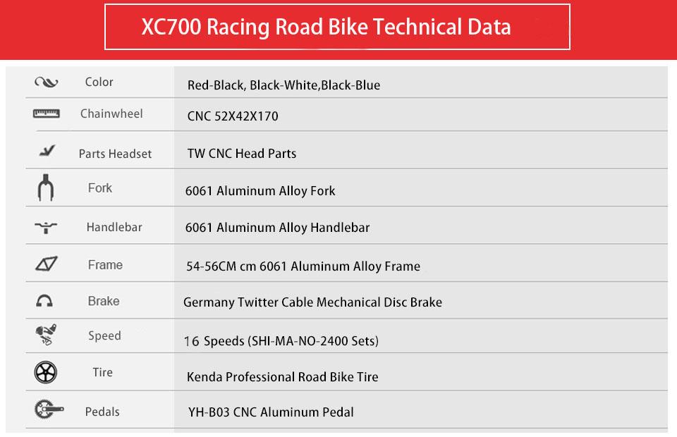Cyrusher Racing Road Bicycle Light Aluminum Frame 16 Speeds
