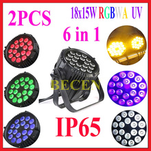 2PCS  Waterproof IP65 Outdoor Led Par RGBWA+UV 6in1 Led Par Can 18x18w Led Par Light For Outdoor Use Rain Proof No Noise