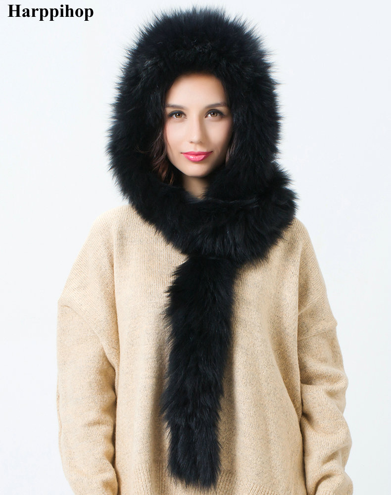 2017 Harppihop fur warm winter fur hat lady fox fur woven hat scarf snow cap