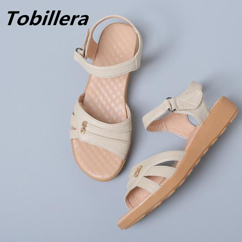 Tobillera 2017 Summer Ladies Casual Style Plus Size nude black brown Flat Sandals High Quality Women Beach Shoes <br>
