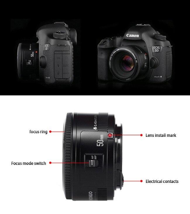 YONGNUO YN50mm F1.8 Camera Lens EF 50mm for Canon Aperture Auto Focus Lenses For EOS DSLR 700D 750D 800D 5D Mark II IV 10D 1300 15