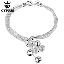 Hot Ball Bracelet Fashion silver rolo chain bracelet Factory Price CYPRIS famous bracelet women men lady gift wholesale price(China)