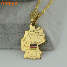 Anniyo Pendant:2.6cm x 1.8cm/ Deutschland map/flag necklace pendants 45cm/60cm chain women gold color jewelry german(China)