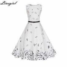 Women Summer Music Note Printing Dress Audrey hepburn Robe Retro Swing Casual Vintage Sleeveless O-Neck Swing Dresses Vestidos(China)