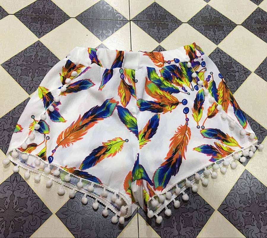 17 Summer Floral Pom Pom Ball Shorts Women Beach Tassel Bohemian National Wind Print Loose Women's Short Feminino Plus Size XL 12