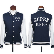 Plus size kpop super junior hoodie jacket fashion preppy style sj single breasted baseball jackets for men women sportwear(China)