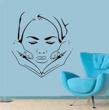 New Neck Massage Removable Vinyl Wall Decal Wall Sticker Masseuse Chair Rocks Oil Massage Spa Salon Shop Decoration(China)