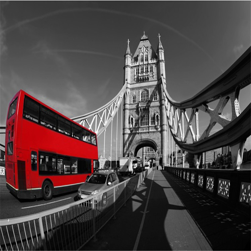 photo wallpaper European retro nostalgic black and white photographs of architectural art 3D Tower Bridge 3d mural wallpaper<br><br>Aliexpress