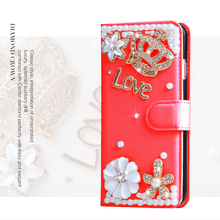 For BlackBerry Mercury / DTEK70 Luxury Woman Lady Gold Diamond Crown Rhinestone Pearl Flower Pu Leather Wallet Case(China)