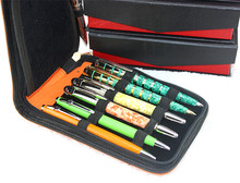 Fountain Pen Case Roller Pen orange Pu Leather Case for 12 Pens