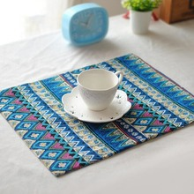 Vintage Printed Linen Kitchen Decoration Accessories Insulation Pads Double Sided Dining Table Placemats Wholesale