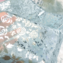 BLUE organza fabric rose pattern for Making Bobbi dolls acting clothes DIY Wedding decoration (Folding shipment)(China)