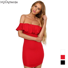Buy M.H.Artemis shoulder mini dress ruffles vintage bodycon dress Short sexy dress vestido de festa summer style boho chic 3colo for $12.19 in AliExpress store