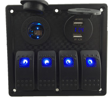 IZTOSS 12V-24V DC 4 gang Waterproof marine blue led switch panel with led power socket and 4.2A USB voltmeter