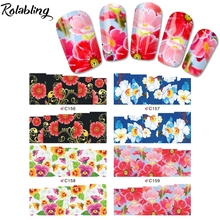 Rolabling Mix Styles Flower Water Decals Rose Tulip Peony Designs Packing Nail Art Stiker Manicure Tools Nail decoration