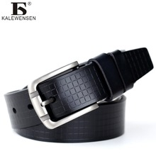 2017 mens cow genuine leather luxury strap male belts for men 2 colors cintos masculinos plate buckle 4024(China)