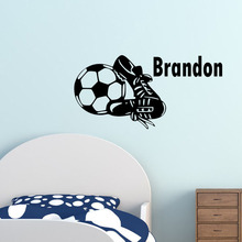 Customized Decal Football Boots Decal Vinyl Removable Art Football Custom Name Wall Sticker Mural Creative Design For Kids Room(China)