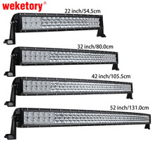 weketory 5D 22 32 42 52 inch 200W 300W 400W 500W Curved LED Work Light Bar for Tractor Boat OffRoad 4WD 4x4 Car Truck SUV ATV(China)