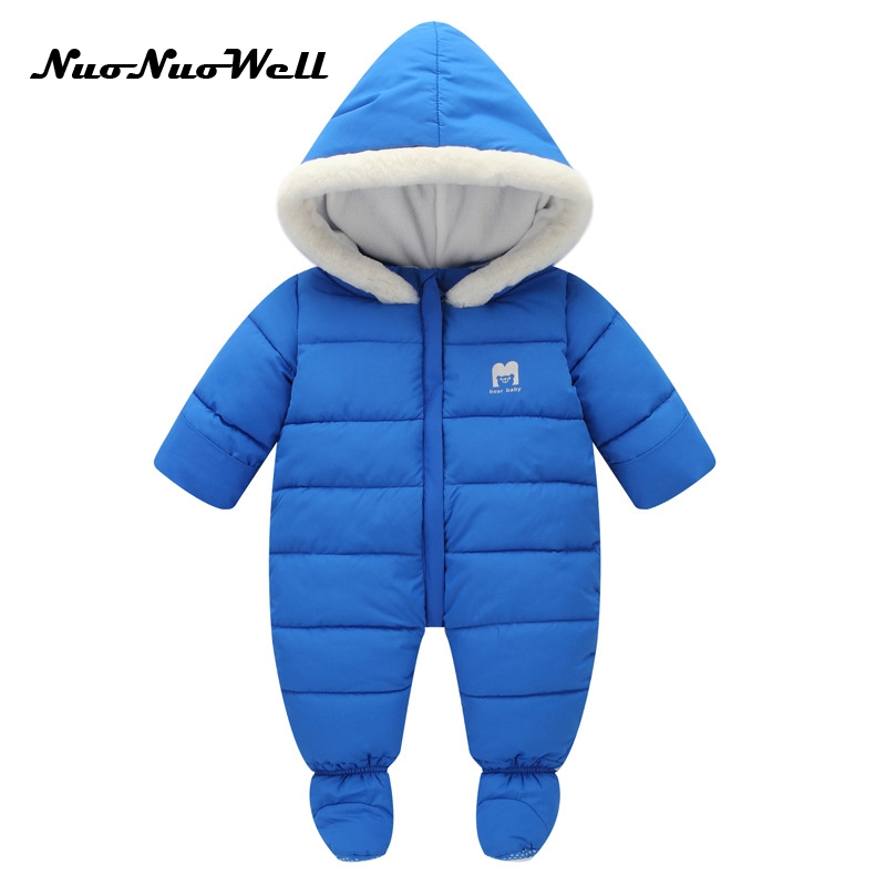 NNW 2017 Winter Clothes Newborn Baby One-piece Thick Hooded Jumpsuit Baby Warm In Winter Rompers Foot-covered Children Outwear <br>