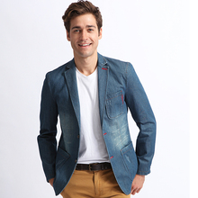 XXXL Spring Fall Mens Fashion Slim Fitted Designer Blue Denim Blazer Coat , Male Cool Casual Ripped Jean Suit Blazers