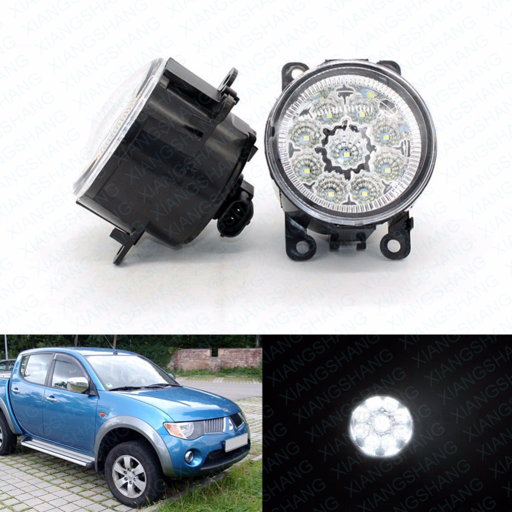 LED Front Fog Lights for MITSUBISHI L200 KB_T KA_T Pickup Car Styling Round Bumper DRL Daytime Running Driving fog lamps   <br>