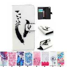 Painting Style Filp Leather case For Huawei P8 Lite 2015 Wallet Stand Book Style TPU Leather Case Card Holder Etui