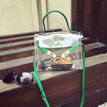 Fashion summer beach bag candy color jelly clear plastic bag women handbag small flap transparent PVC crossbody sweet cute bag