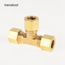 2pcs 64 SAE 060401 1/8 3/16 1/4 Brass Fitting, Brass Compression Fitting, Brass Air Brake Tubing Union Tee Fitting(China)