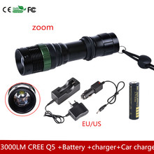 3000 LM Zoom CREEQ5 LED Flashlight Torch Zoom Lamp Light - 3 Mode +18650 4000MAH battery +charger+Car charger(China)