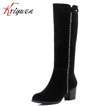 CN size33-41 winter warm women motorcycle Boots cow split punk rivets high heels Knee high Boots woman british style lady Shoes