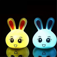 New Kids Toys Rabbit LED Colorful Lights Night Light RGB Lamps with battery Toy Christmas Holiday Gift
