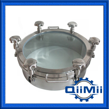 350mm SS304 SS316L Full view glass cover;Sanitary manhole cover with sight glass,handle cover