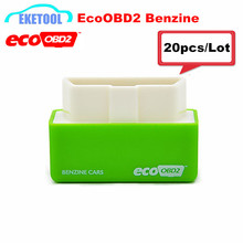 A+Quality Wholesale 20pcs/Lot For Benzine Cars EcoOBD2 Green Scanner Fits OBD2 Petrol Car From 1996 ECO OBD2 ECU Chip Tuning Box